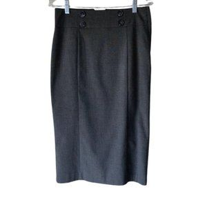 Women Gray High Waist Midi Pencil Skirt With Butto